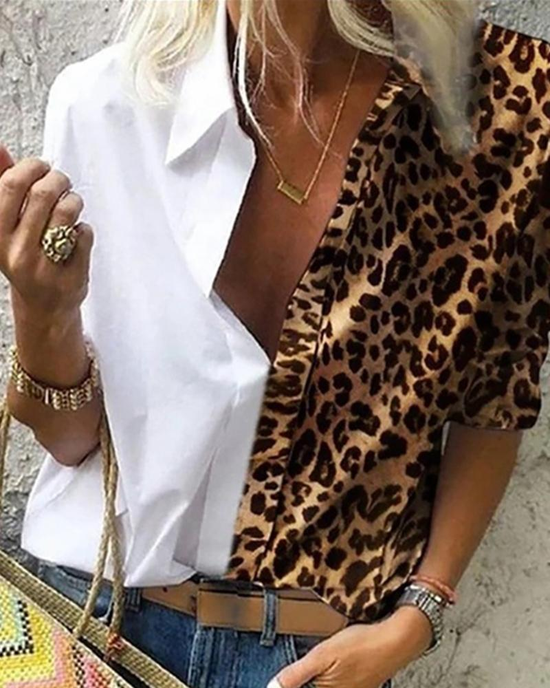 Cheetah Print Colorblock Buttoned Shirt