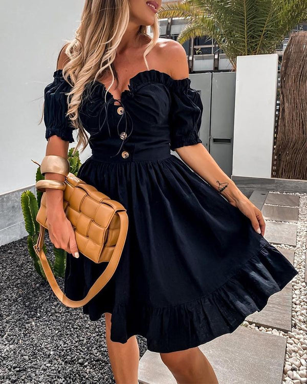 Off Shoulder Button Design Frill Hem Dress