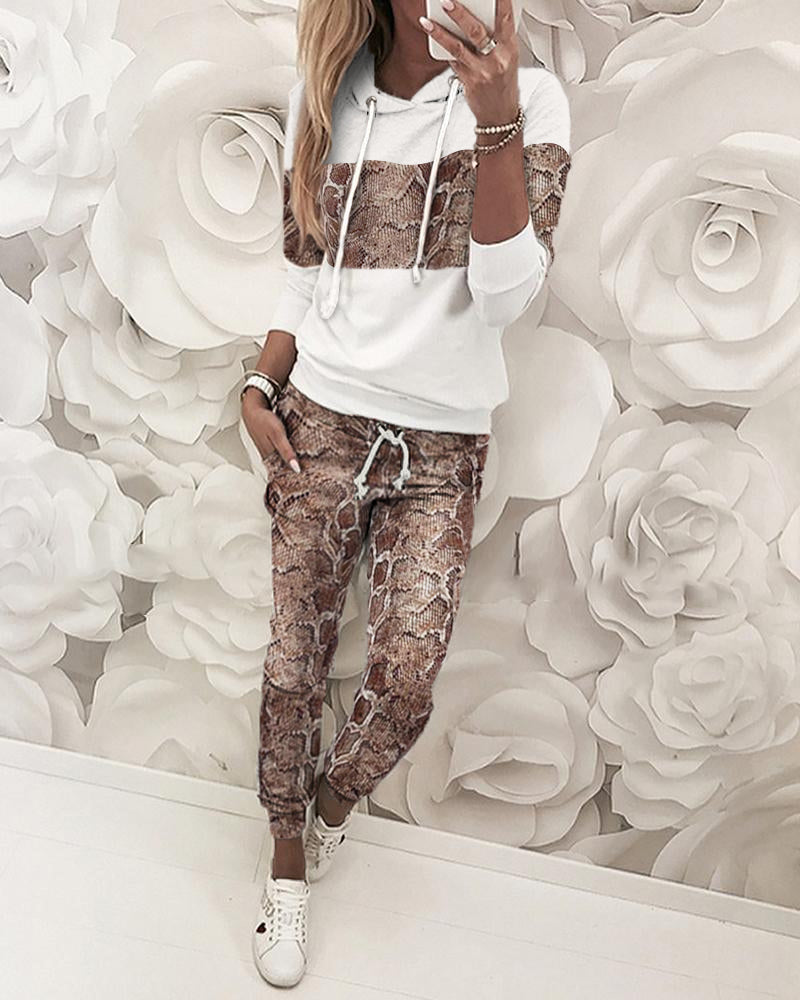 Snakeskin Hooded Sweatshirt & Pants Sets