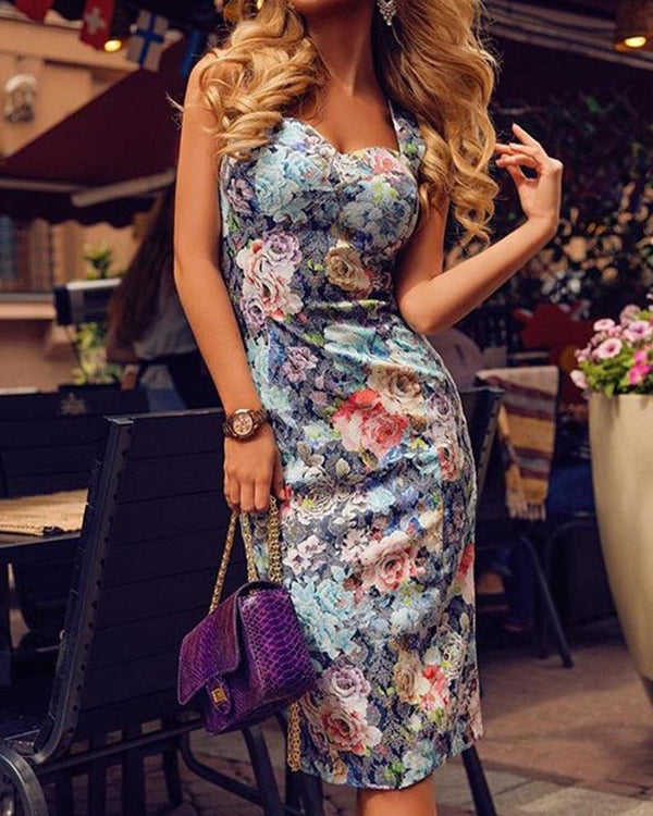 Floral Wide Strap Bodycon Dress