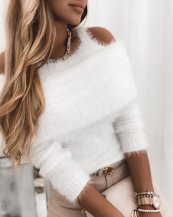 Cold Shoulder Plain Fluffy Casual Sweater