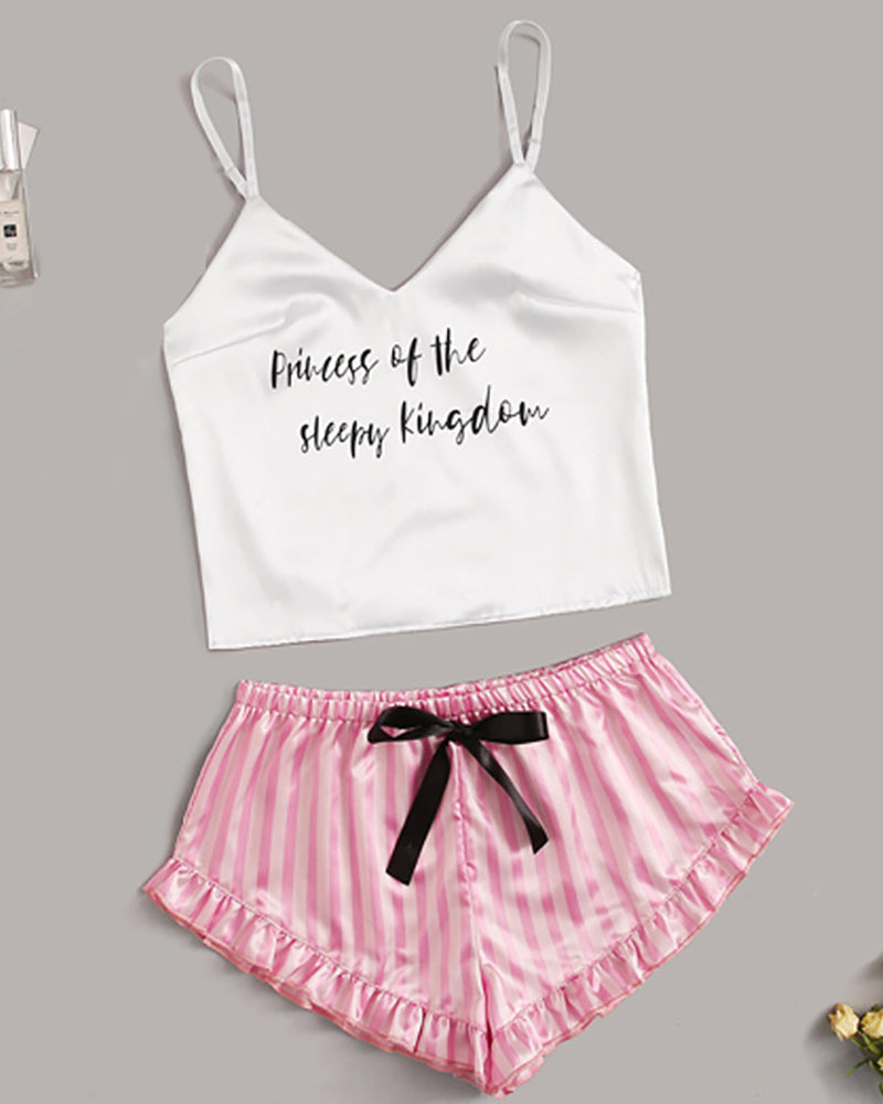 Spaghetti Strap Striped Cami Set