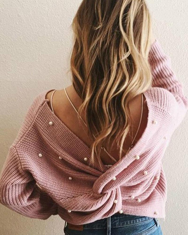 Fashion V-neck Backless Pearl Sweater