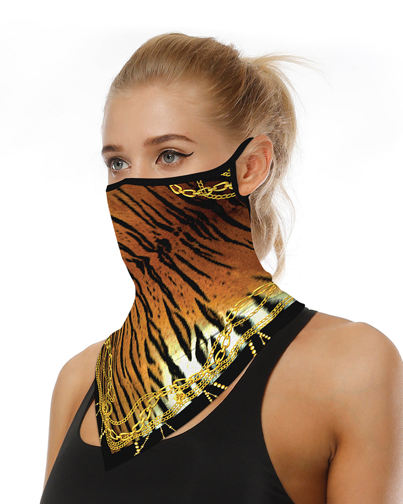Chain Tiger Print Breathable Ear Loop Face Cover Windproof Motorcycling Dust Outdoors