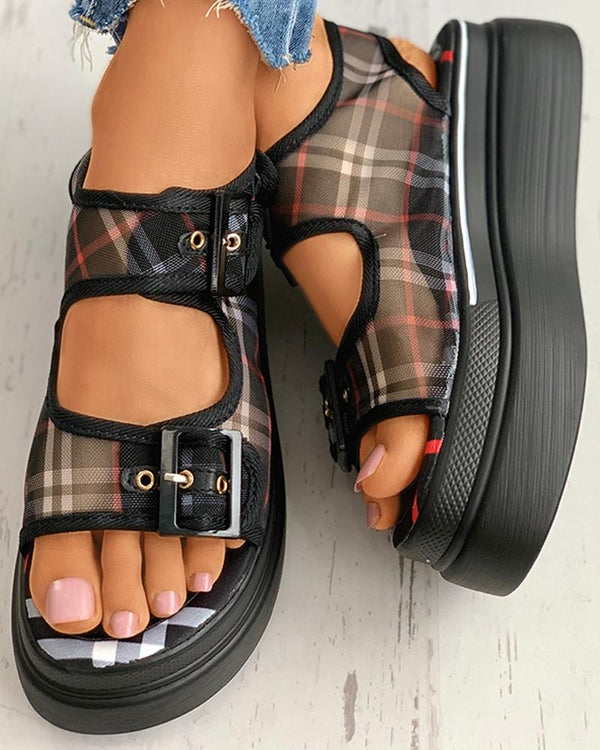 Grid Print Eyelet Buckled Muffin Sandals