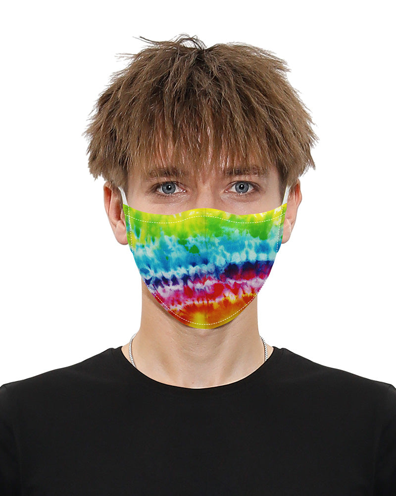 Tie Dye Print Mouth Mask Breathable Washable And Reusable With 2PCS Replaceable Filter