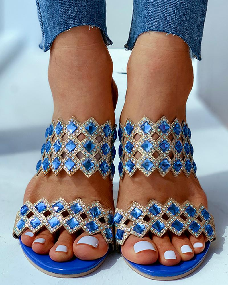 Open Toe Studded Heeled Sandals