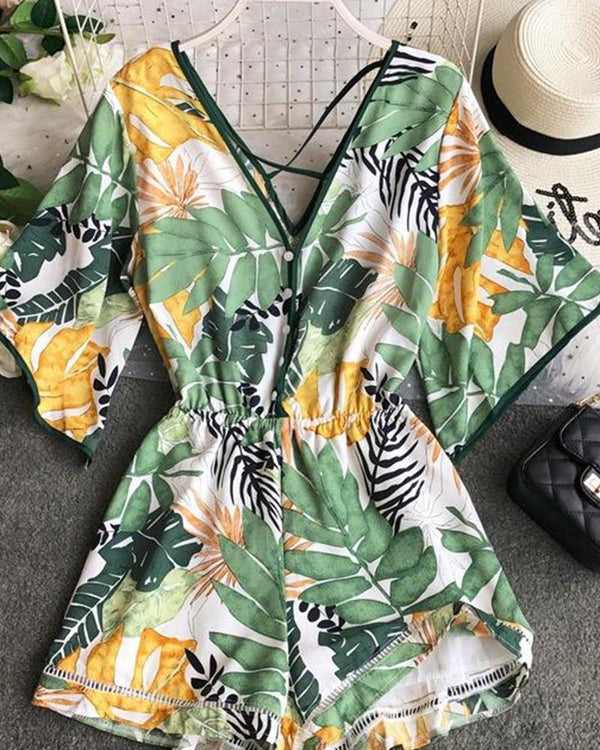 Tropical Print Short Sleeve Romper cami set