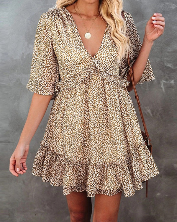 Animal Print Short Sleeve Ruffle Hem Mini Dress