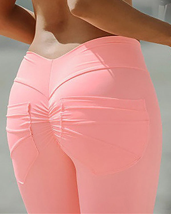 Pocket Design High Waist Ruched Yoga Pants