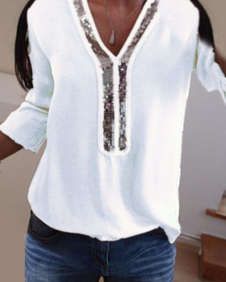 Contrast Sequins Insert Casual T-Shirt