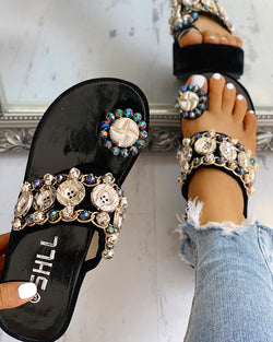 Studded Detail Toe Ring Flat platform sandals