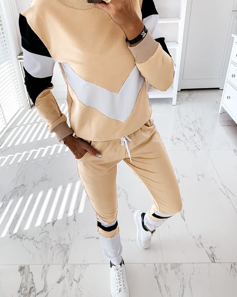 Round Neck Colorblock Drawstring Top & Pants Set