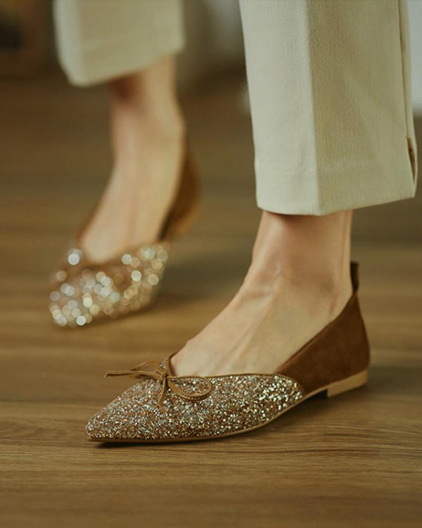 Colorblock Glitter Bowknow Flat Loafer
