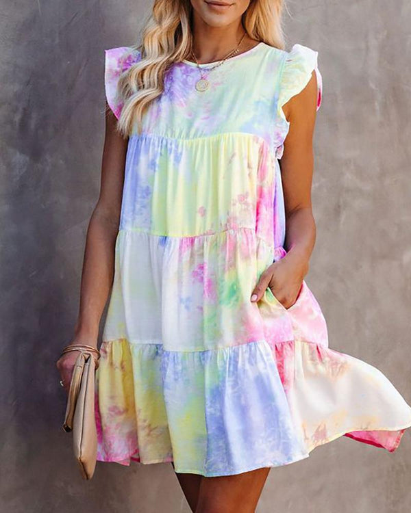 Tie Dye Print Pocket Design Flutter Sleeve Dress