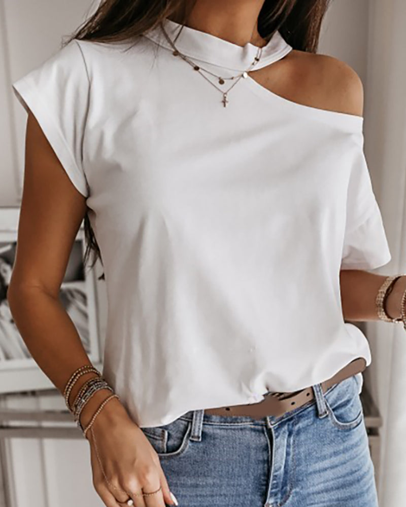 Cold Shoulder Short Sleeve Casual T-shirt