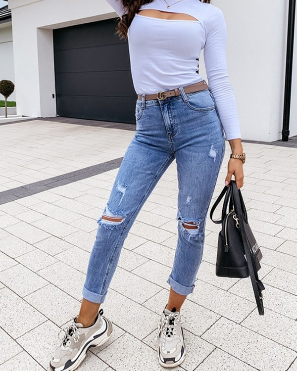 Solid Skinny Ripped Midi Waist Denim Pants Jeans