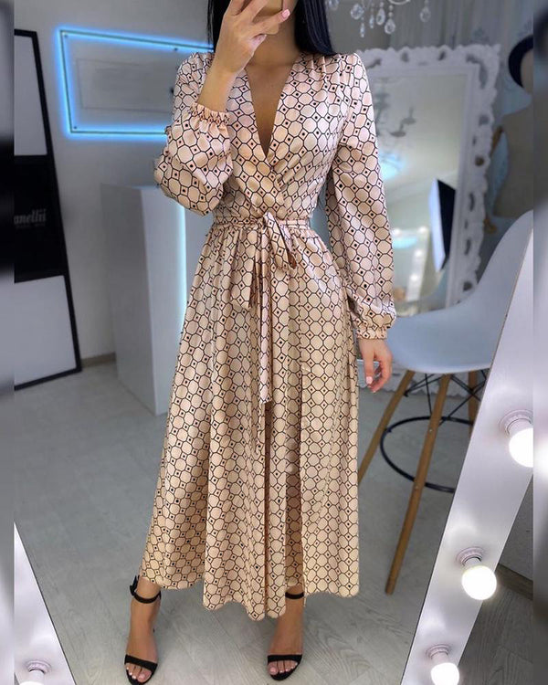 Geometry Polkadot Print Plunge Wrap Dress