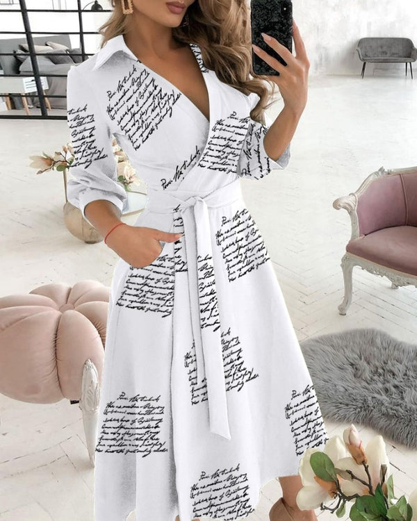 Letter Print Long Sleeve Wrap Dress With Belt