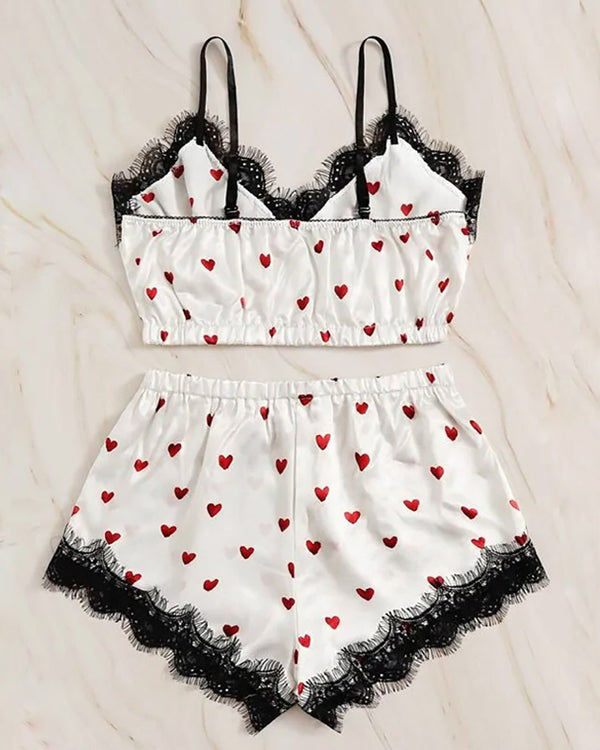 Heart Print Lace Trim Cami Set