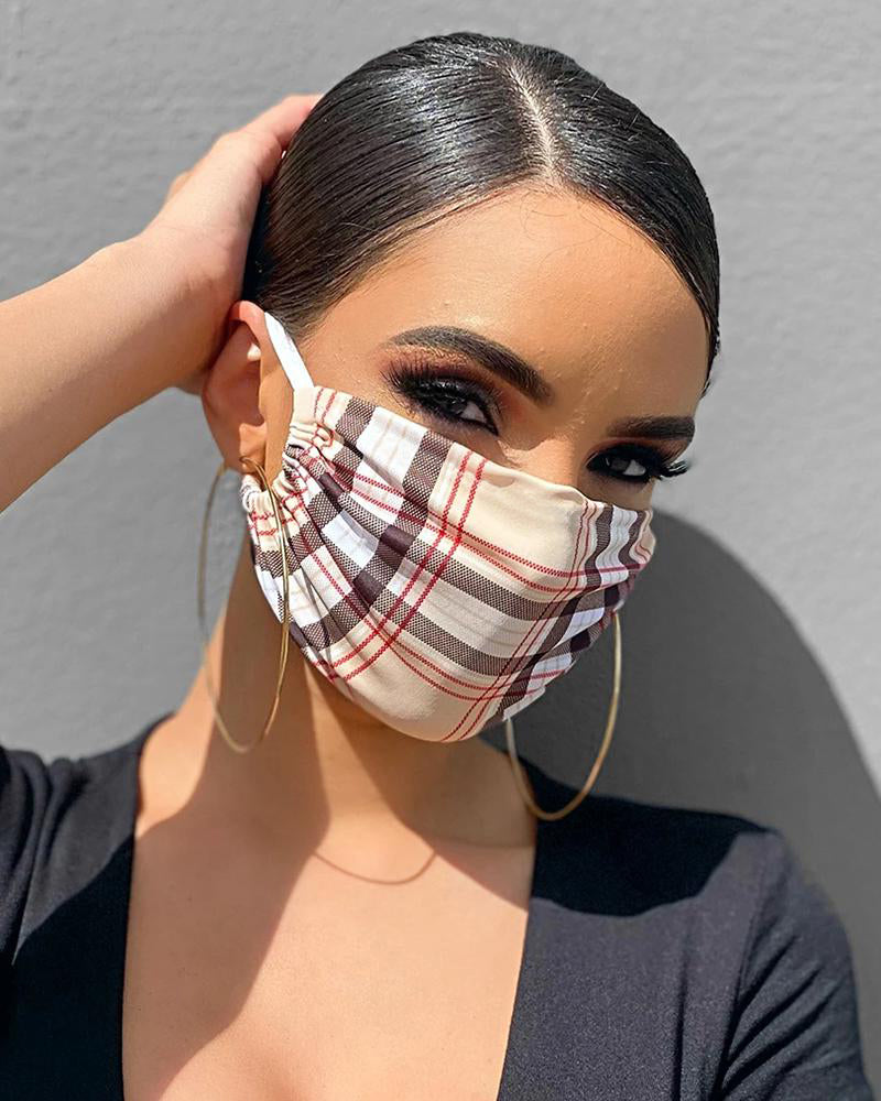 Grid Print Breathable Mouth Mask Washable And Reusable
