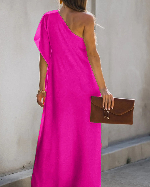 One Shoulder Slit MaxiDress