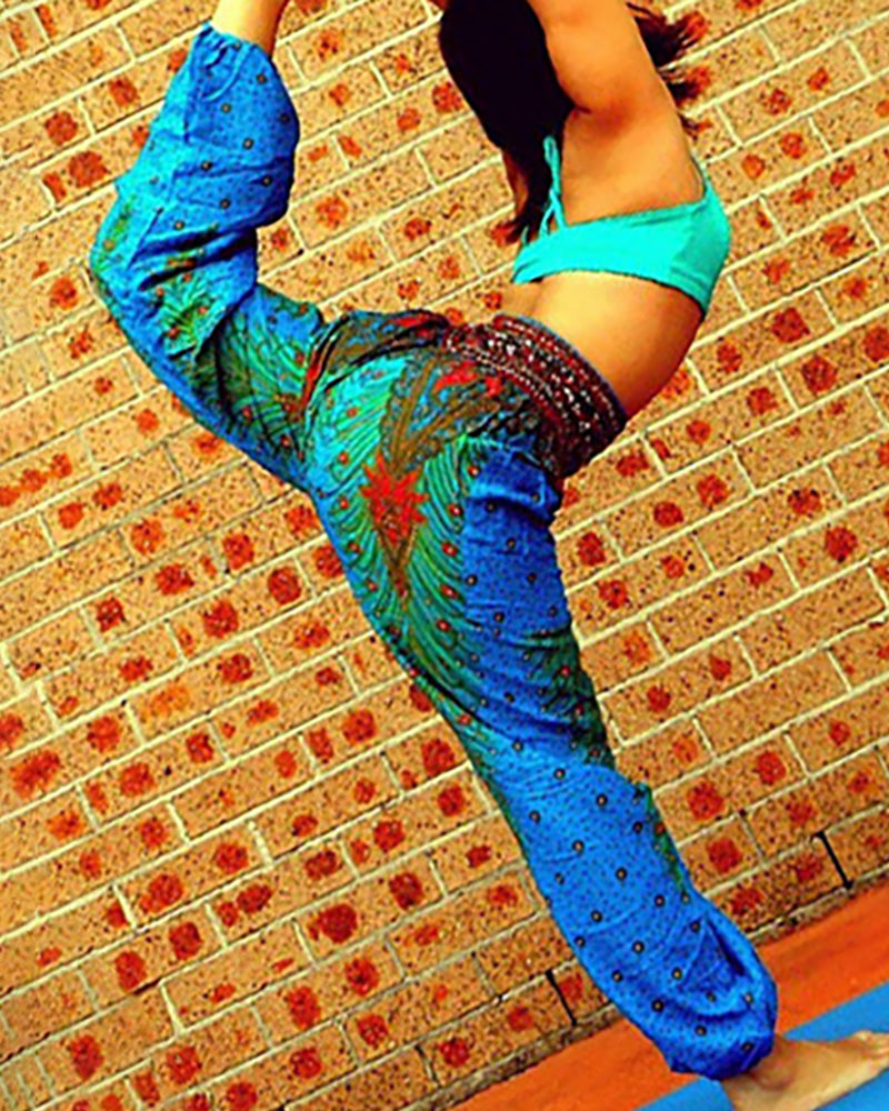 High Waist Wide Leg Print Yoga Pants