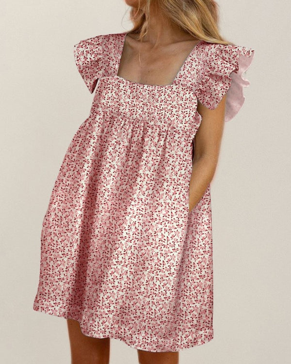 Floral Print Square Neck Ruffles Dress