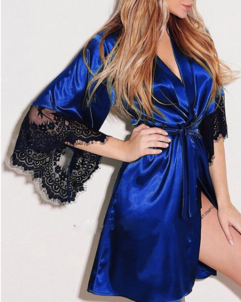 Open Front Lace Trim Long Sleeve Robe
