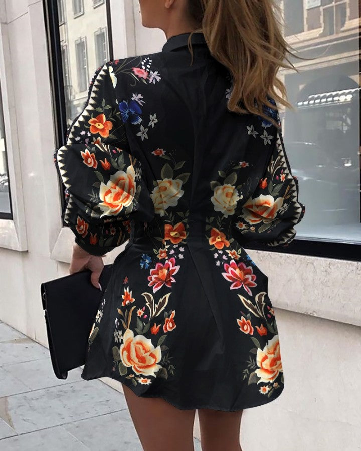 Floral Print Tight Waist Shirt Dress