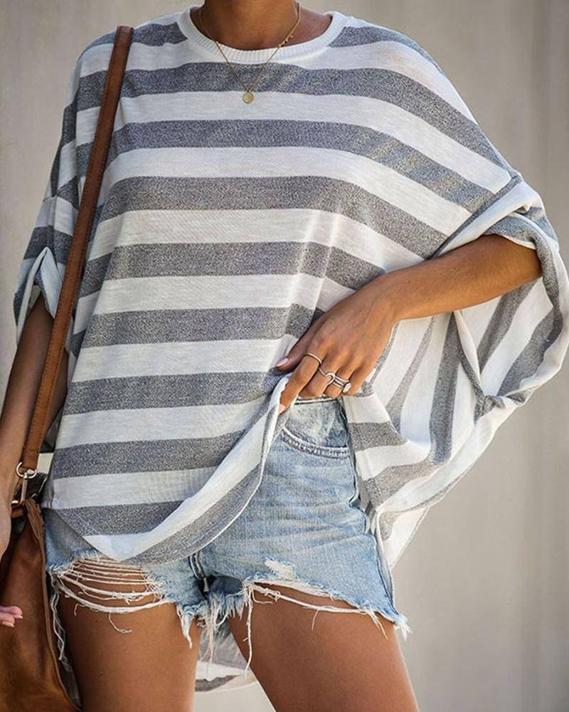 Striped Batwing Loose Three Quarters Sleeve T-shirts