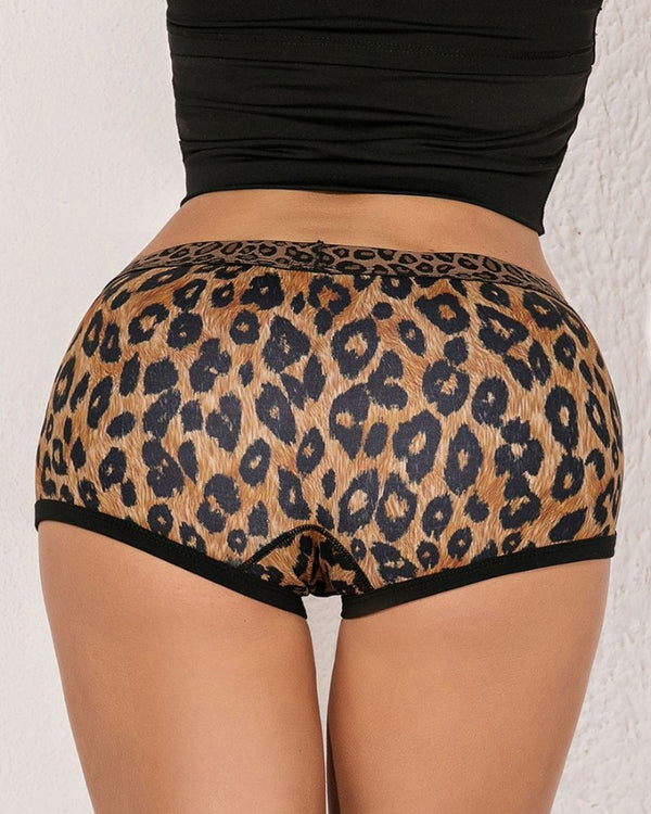 Leopard Colorblock Contrast Binding Sporty Shorts