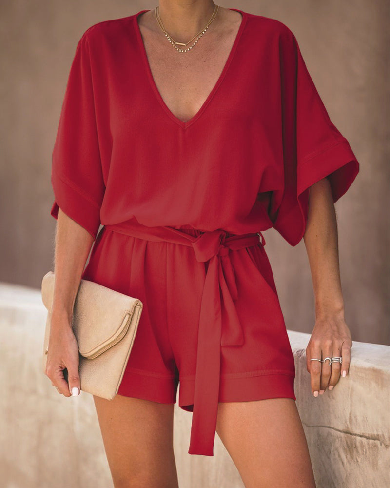 V-Neck Short Sleeve Casual Romper
