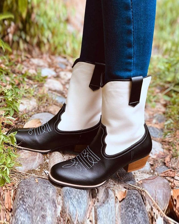 Color Block Embroidery Pointed-toe Boots