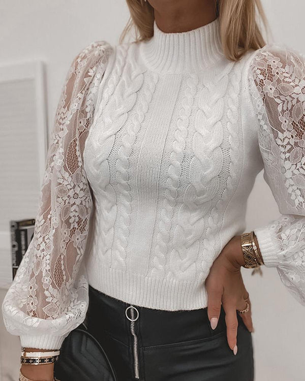Puffed Sleeve Sheer Mesh Lace Cable Knit Sweater