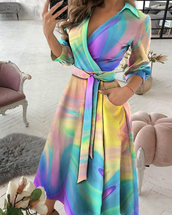 Tie Dye Print Lace-up Long Sleeve Maxi Dress