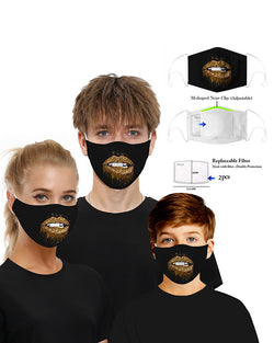 Lip Print Mouth Mask Breathable Washable And Reusable