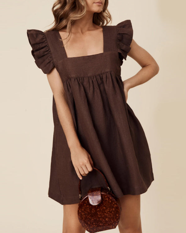 Solid Color Ruffle Sleeve Mini Dress