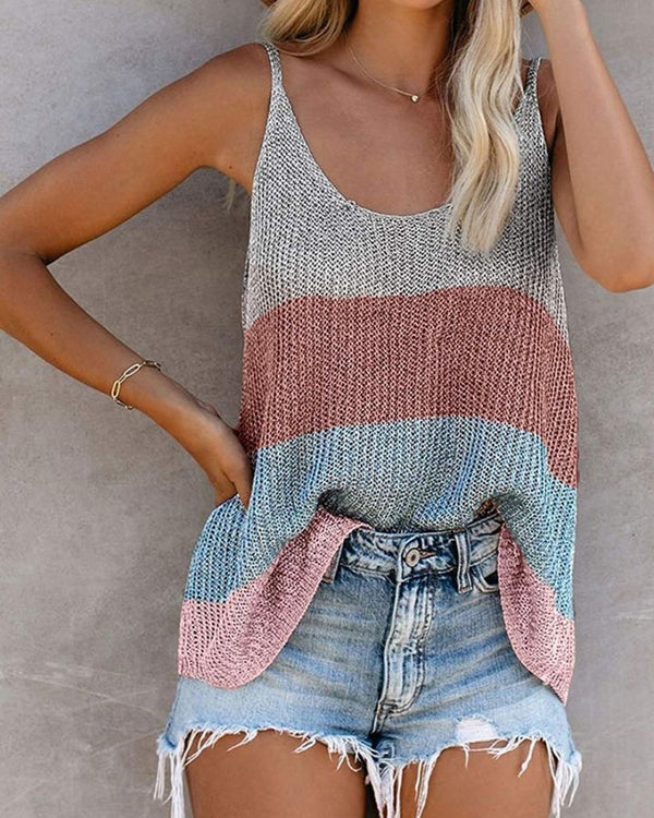 Colorblock Sleeveless Loose Cut-out Tanks