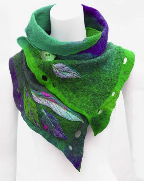 Casual Color Block Splicing Leaves Scarf