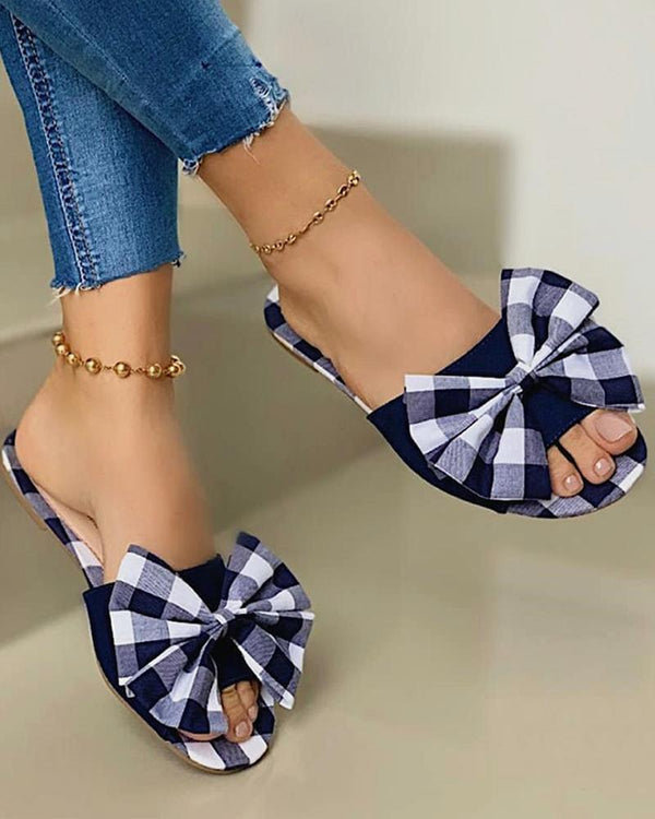 Check Bowknot Open-toe Flat Sandals