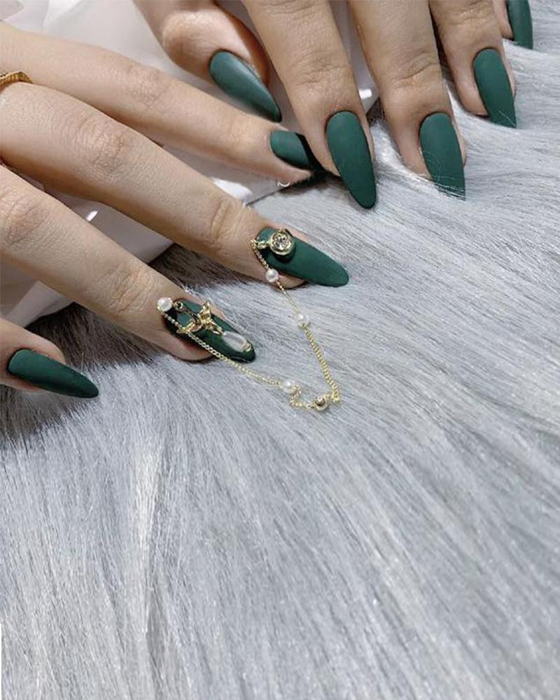 Dark Green Bird Chain Waterproof Manicure