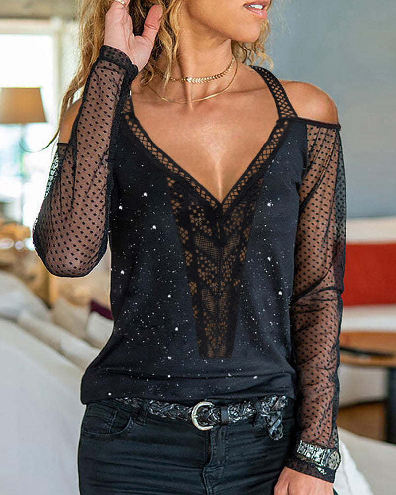 Cold Shoulder Sheer Mesh Lace Blouse