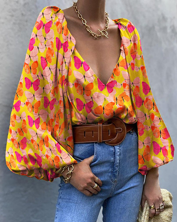 Butterfly Print Puff Lantern Sleeve Top