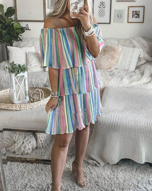 Colorblock Striped Off Shoulder Layered Dress