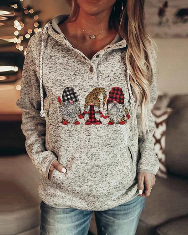 Christmas Gnomes Svg Buttoned Pocket Design Hoodie