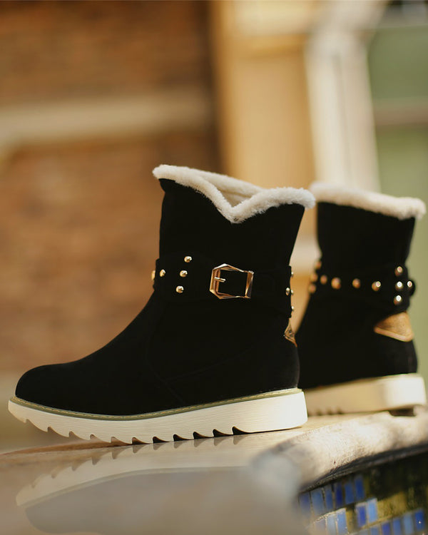 Colorblock Fur Splicing Round Toe Snow Boots