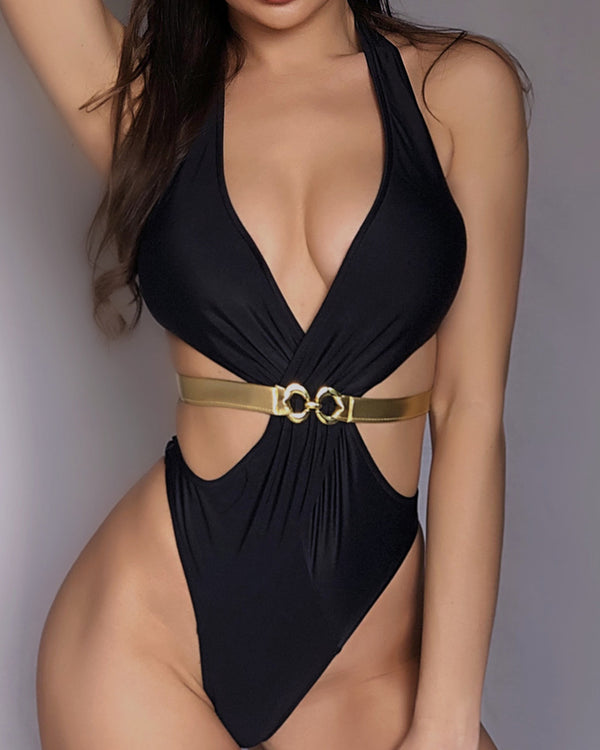 Halter Bandage One Piece Swimsuit
