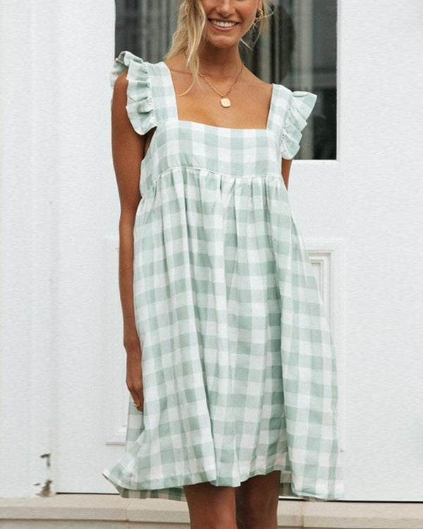 Plaid Ruffles Loose Sleeveless Dress