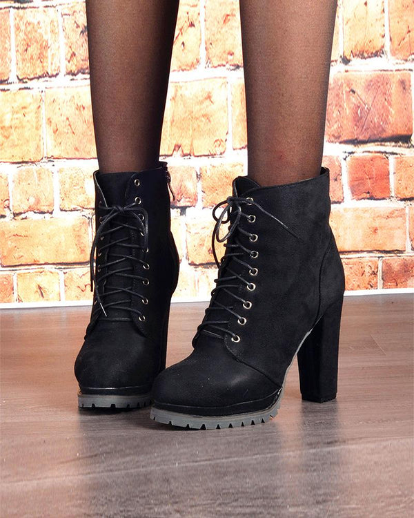 Lace-up Solid Color Pointed-toe High Heel Boots